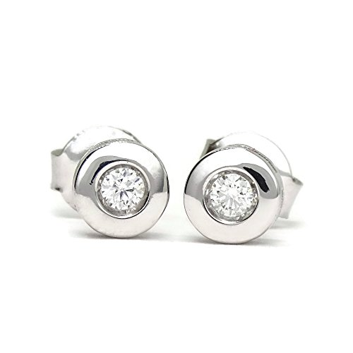 Pendientes de Diamantes en Oro blanco 18K | Brillante 0.12 carats | Joyería | Diseño italiano | Joya para ella, Regalo mujer, San Valentín, Día de la Madre