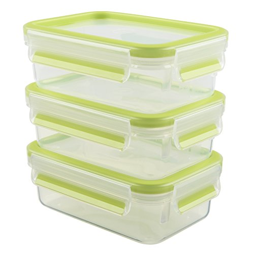 Emsa 515583 Food Clip & Close,Plastik, Transparent / Grün, 0,55 Liter, Set mit 3 Boxen