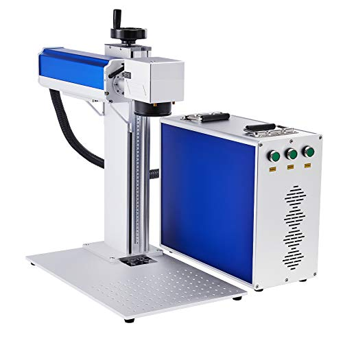 OMTech 20W Fiber Laser Engraver with 100,000 hr Raycus Laser and 8x8 inch Workbed, Metal Etching and Engraving Tool, Laser Cutting and Marking Machine for Gold Jewelry Other Metals More