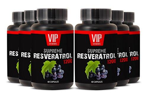 Top Resveratrol with Green Tea and Acai - Premium Red Wine Extract 1200 - Maximum Strength Super Blend (6 Bottles 360 Capsules)