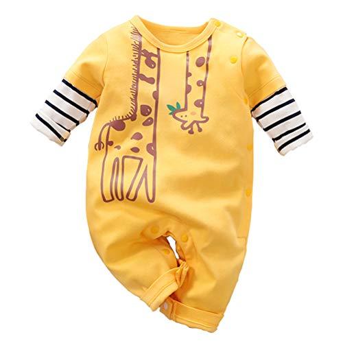 Baby Jungen Mädchen Strampler Giraffe Musterdruck Design Baby Süß Langarm Pyjamas Säugling Outfit Overall Schlafanzug Kleidung
