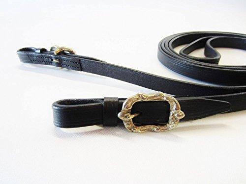 PS Pferdeartikel Lederzügel, geschlossen vernäht, Portugiesisch - Barock Farbe Schwarz mit silbernem Beschlag