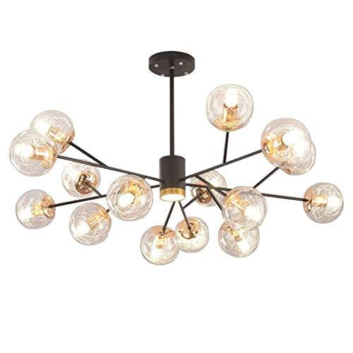 MQJ Sputnik - Lámpara de techo molecular de cristal de alambre de aluminio con 6 W, 12 luces, para sala de estar, dormitorio, 15 luces