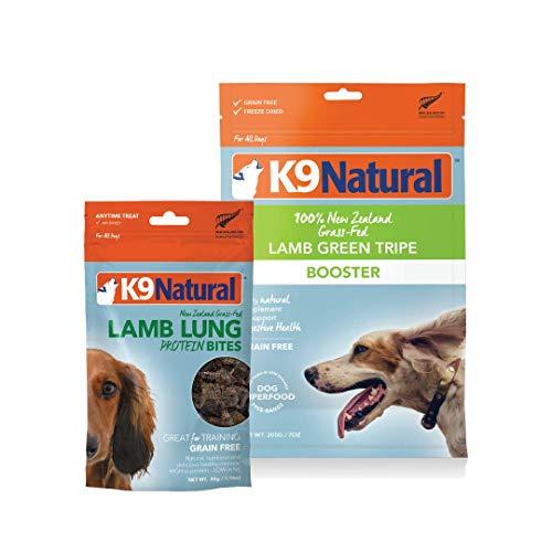 K9 Natural Grain-Free Dog Lamb Tripe Booster 7oz and Air Dried Lamb Lung Bites 1.7oz Bundle