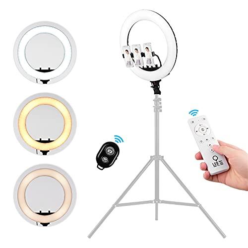 Fotografía Light Video De 18 Pulgadas LED Luz De Anillo Dimmable 3000-7000K Control Remoto con 3 Pinzas Telefónicas Teléfono Thotter RemotoStreaming para Fotografía