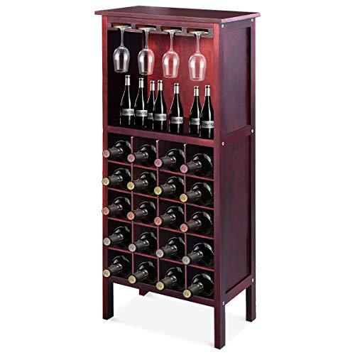 DREAMADE Weinregal mit Weinglashalter, Weinschrank Holz, Flaschenregal für 20 Flaschen, Weinständer Weinhalter Gläserregal mit Vintage Still, Weinflaschenhalter (Braunrot)