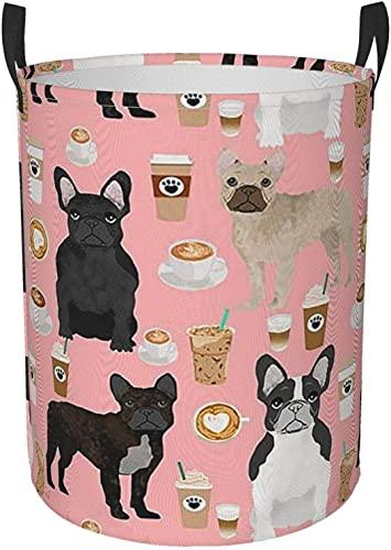 Round Dirty Clothes Bag French Bulldog Art Digital Laundry Basket Bedroom Hamper Funny Waterproof Handle with Handle Vertical Foldable Baskets Tote Bag Hamper Organizer