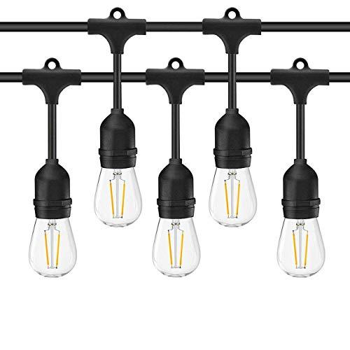 E27 Lampe Suspension Guirlande Lumineuses,KINGCOO étanche Vintage Edison Connectable Strand Extérieur Lumières Commerciales à LED String (Ampoules non Comprises) (48FT/15 Sockets)