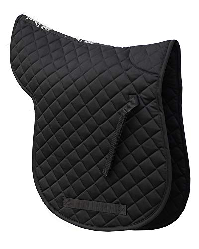 Rhinegold Cotton Quilted Numnah-Full-Black, Negro, Plein
