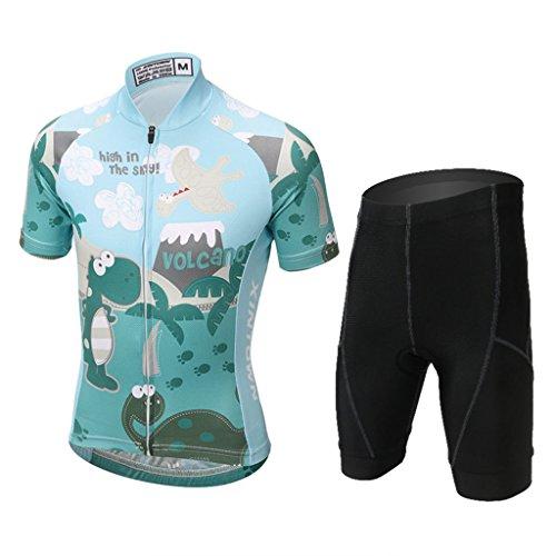 GWELL Kinder Jungen Radtrikot Set Fahrrad Trikot Kurzarm + Radhose mit Sitzpolster Dinosaurier-1 XL