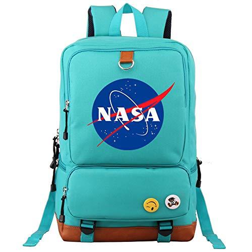 CBA BING NASA Logo Rucksack, Gym Wandern Laptop Umhängetasche Daypack für Männer Frauen, Slim Lightweight Laptop Bag,Green