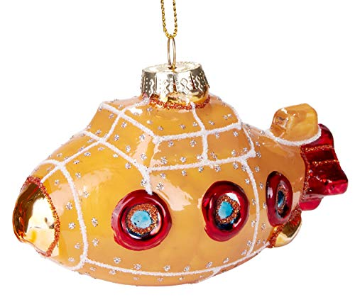 BRUBAKER Submarine Yellow Red - Hand-Painted Glass Christmas Bauble - Mouthblown Christmas Tree Decoration Figures Funny Decoration Pendant Tree Ball - 4.1 inches (10.5 cm)