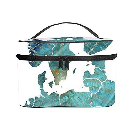 Cosmetische tas Waszak Ontvangstzak Europa Kaart Wind #europe #map -up Litchi lederen materiaal Anti-kras en anti-aangroei Geweldig geschenk 25x18x15cm (9.8x7.1x5.9'')