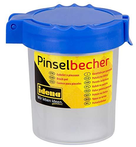 Idena 623031 - Pinselbecher mit Deckel, Kunststoff, blau, 1 Stück