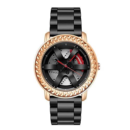 SANDA Relojes Hombre,Mira los Relojes de la Tira de Acero de la Tendencia de la Moda de los Hombres con el Reloj de Ocio del Reloj de Cuarzo Reloj de los Hombres-Oro Rosa