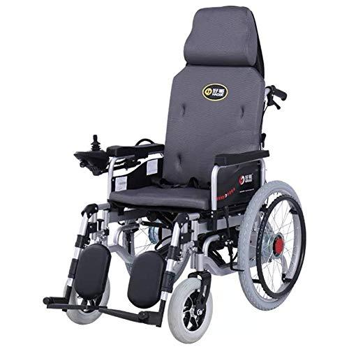 Wheelchair Elektrorollstuhl Heavy Duty Elektro-Rollstuhl Mit Kopfstütze, Klappbaren Tragbaren Elektrorollstuhls Mit Großen Rädern, Verstellbare Rückenlehne Und Ped