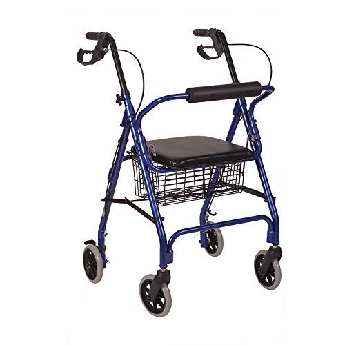 HealthSmart Rollator Walker, Adjustable Handle Height Folding Walker, Light Weight Aluminum Walker With Basket, Cushioned Seat and Padded Backrest, 23 x 24 x 30.5 Inches, Royal Blue