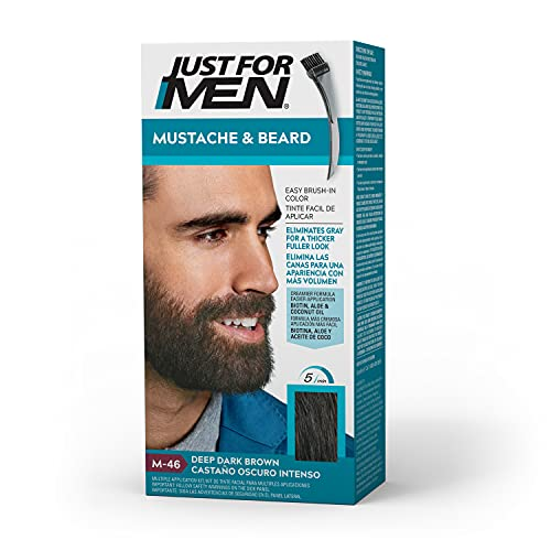 Just For Men Mustache & Beard, Beard Coloring for Gray Hair with Brush Included for Easy Application, With Biotin Aloe and Coconut Oil for Healthy Facial Hair – Deep Dark Brown, M-46