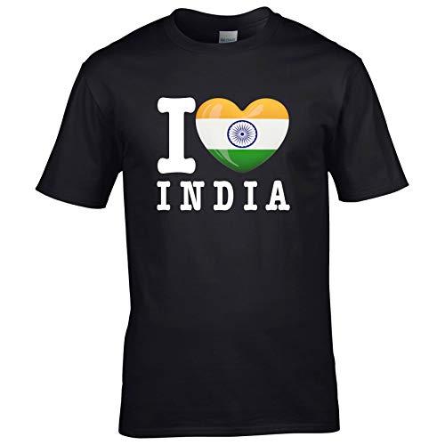 FanShirts4u Kinder T-Shirt - I Love Indien/India - WM Trikot Liebe Herz Heart (7/8 Jahre 122-128 cm, I Love India - Schwarz)