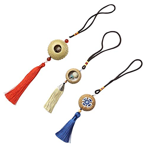 SNOWINSPRING Bamboo and Rattan Woven Tassel Pendant Chinese Jade Pendant Home Charm