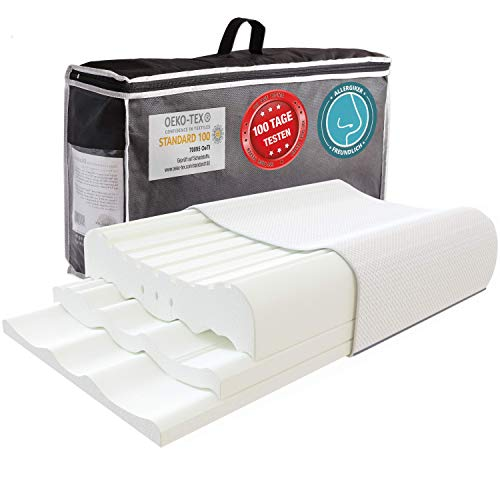 Almohada ortopédica de apoyo cervical de 3 piezas, altura regulable para todas las posiciones de sueño, cojín cervical, almohada para dormir de lado, almohada para dormir de lado