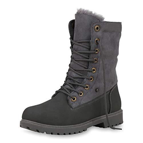 SCARPE VITA Damen Winter Boots Warm Gefütterte Stiefeletten Kunstfell Stiefel Profilsohle Schuhe Schnürstiefeletten Winterschuhe 187513 Grau 37