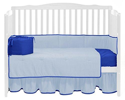 Baby Doll Bedding Solid Reversible Crib Bedding Set, Light Blue/Royal Blue