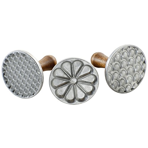 Nordic Ware Heirloom Cookie Stamps, Silver with Natural Hardwood Handles