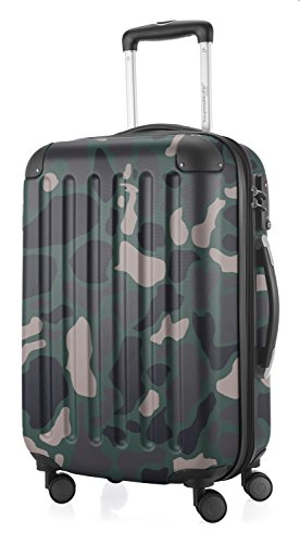 HAUPTSTADTKOFFER - Spree - Carry on Luggage Suitcase Hardside Spinner Trolley Expandable 55 cm TSA, Camouflage