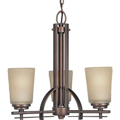 Progress Lighting P4212-88 3-Light Chandelier with Etched Light Topaz Glass, Heirloom