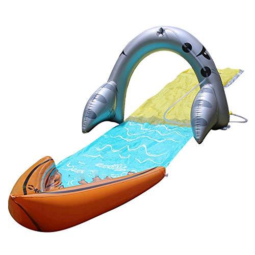 Tobogán acuático de surf individual, toboganes para niños, tobogán para niños Césped de verano Jardín al aire libre Juegos divertidos juegos de agua Spray Spray Sprinkler Juguete para niños ,480*70cm