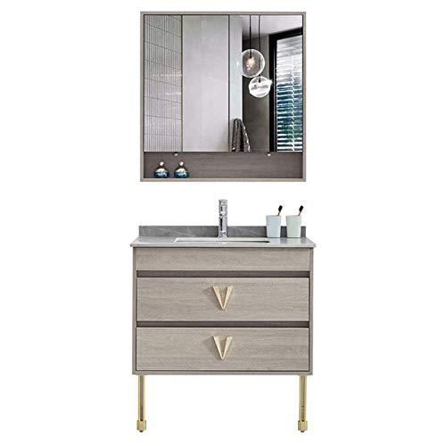 HIZLJJ Armarios con espejo Cabinete del lavabo del baño Cabina de baño Combinación de la combinación de lavabo de lavado de roca de roca del lavabo del lavabo del lavabo del lavabo del lavabo del lava