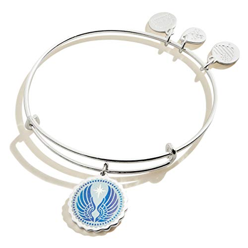 Alex and Ani Embossed Print Guardian Angel Bangle Bracelet Shiny Silver