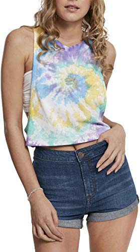 Urban Classics Dames Ladies Short Tie Dye Loose Tank-Top T-shirt
