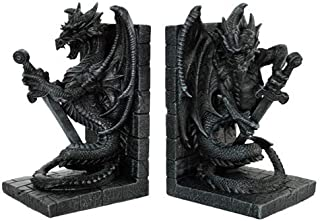 Dragon With Sword Bookends Figurine Handpainted Resin