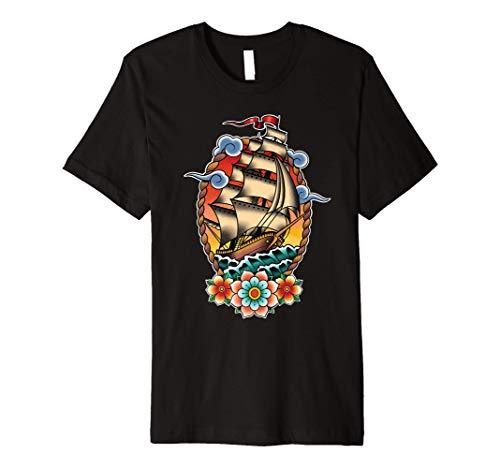 Old School American Traditional Tattoo flash Clipper Ship Premium T-Shirt