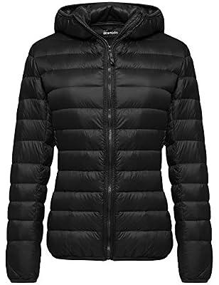 Wantdo Women's Winter Lightweight Down Jacket Packable Warm Coat Black Large by