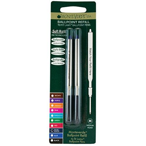 Monteverde Soft Roll Ballpoint Refill for Lamy Ballpoint Pens, Blue/Black, 2 Pack (L132BB) Photo #4