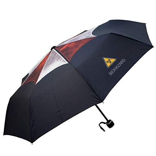Sun & Rain Resident Evil (Sumbrella Corporation) Drucken Umbrella Cosplay um Anima Mini-Reise-Regenschirm, tragbarer leichter kompakter Sonnenschirm mit 95% UV-Schutz für Anime-Fans, bedruckter Regens