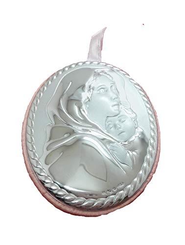Medalla de cuna de Virgen con niño, maternidad, en color rosa