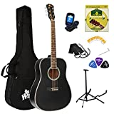 Winzz Acoustic Guitars Full Size, 4/4 Folk Guitar for Beginners Adults, Acoustic Steel-string Guitar Black (41 Inches)