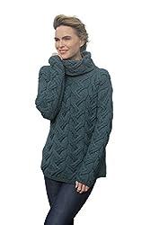 b4d9a2332b9 Aran Woollen Mills Carraig Donn Ladies Irish Multi Cabled Raglan Super Soft  Merino Wool Sweater