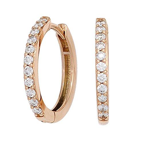 JOBO Damen-Creolen aus 585 Rosegold mit 22 Diamanten