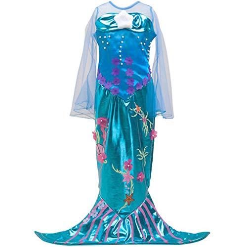 wetry Mädchen Meerjungfrau Kostüm Pailletten Kleid Prinzessin Karneval Party Halloween Weihnachten Kinderkostüm/5-6Jahre