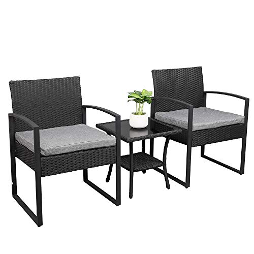 VINGLI 3 Pieces Rattan Patio Sets Bistro Conversation Chair Indoor Outdoor Modern Wicker Garden Furniture Set with Coffee Table-All Weather (Black)