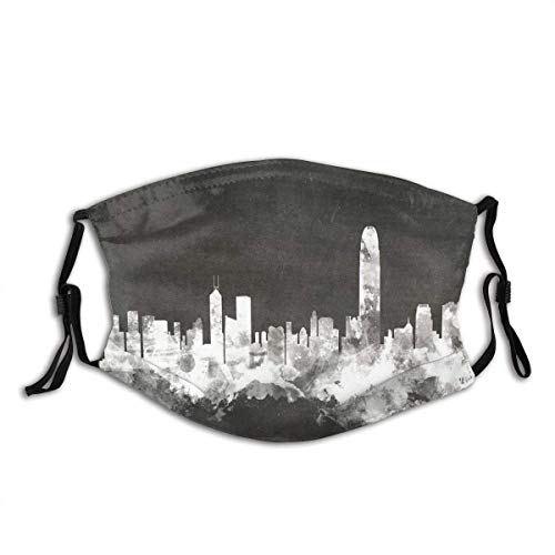 Mundschutz Face Cover Watercolor Urban Hong Kong City Skyline China Silhouette Cityscape Blackboard Chalkboard Reusable Windproof Mouth Cover