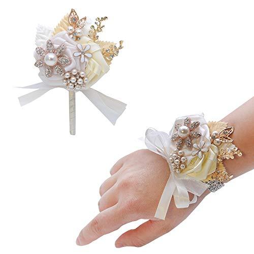 CASEYDRESS ramillete y Boutonniere, 2 piezas de flores de seda rosa Boutonniere Pins, cristales pulsera ramillete para boda, dama de honor, fiesta de baile de graduación, 8 colores