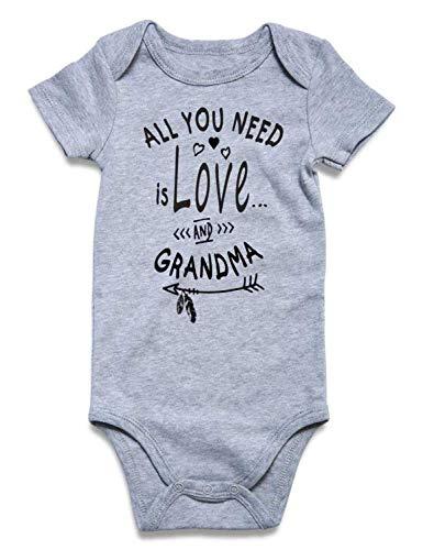 Baby Boy Grandma Clothes Funny Grey Cotton Short Sleeve Romper Gender Neutral Baby Outfit Saying Onesie Jumpsuit Bodysuits Newborn Onesie Romper Boy I Love Grandma Baby Clothes 3-6 Months