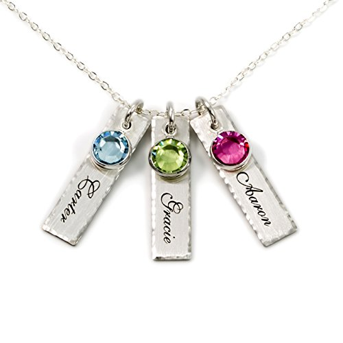 professional A collection of AJ units of three personalized charm necklaces. Match 3 sterling silver …