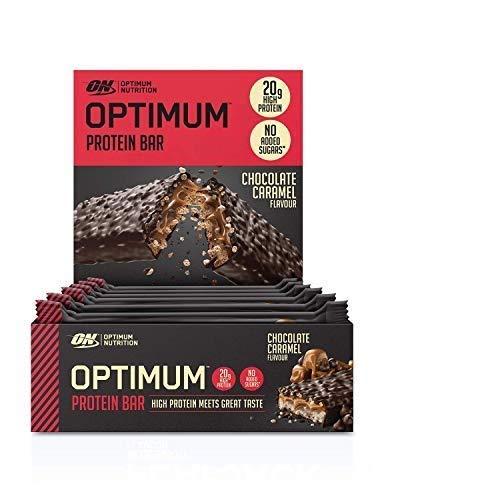 Optimum Nutrition Protein Bar 10 Barrette Proteiche con Proteine Whey Isolate in Polvere, Cioccolato Caramello, Scatola di 10 x 60 g